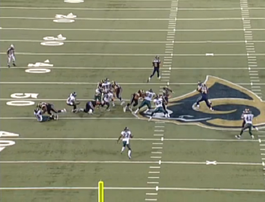 Instead of fighting across the center to the playside, Matthews uses bad technique to run around the center. He basically takes himself out of the play, which leads to a Rams touchdown.