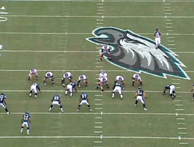 Matthews is the outside linebacker across from the left tackle.