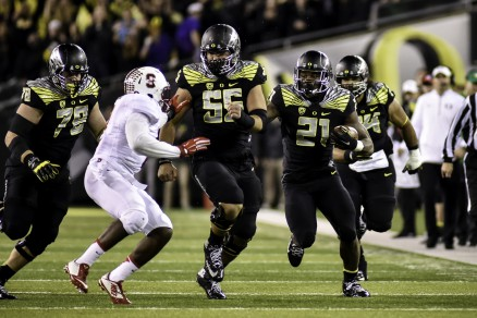 Royce Freeman ran for 98 yards against Stanford.