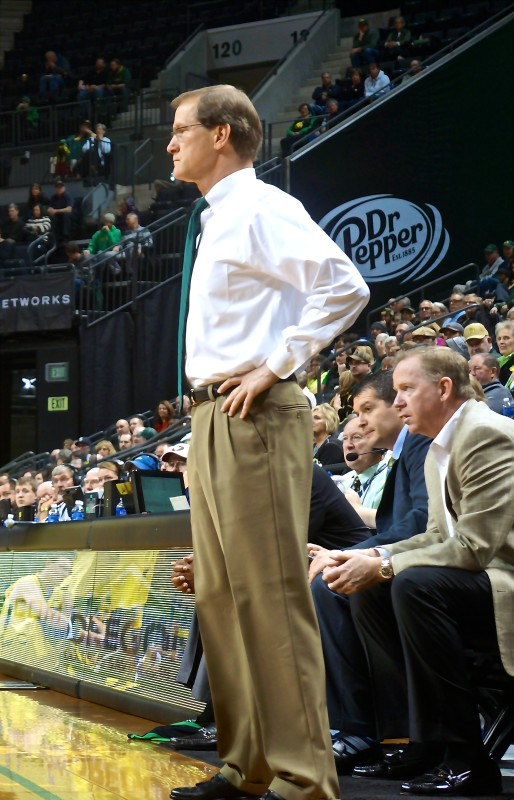 Head Coach Dana Altman taking in the game. Photo: John Reed