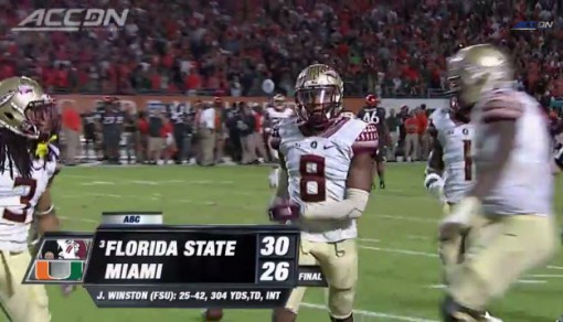Florida State scored its most recent second half touchdown November 15 against Miami.
