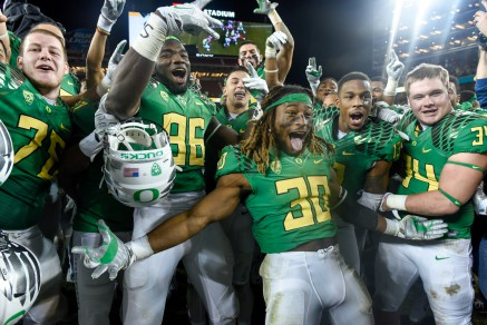 The Ducks celebrating after their PAC 12 Championship victory.