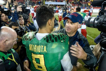 Rich Rodriguez and Mariota