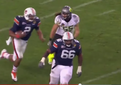 Ducks linebacker Casey Matthews chases down Cam Newton in the title game