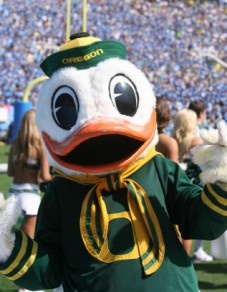 The Duck is all smiles thinking of all the Oregon success.