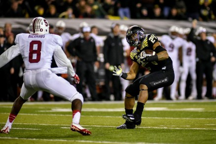 On this play, RB Thomas Tyner had an explosive spin around this Cardinal in the win over Stanford.
