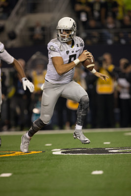 Marcus Mariota in his last College Football game. Photo: John Giustina
