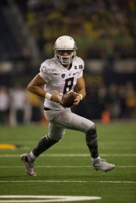 Marcus Mariota in possibly his last game as an Oregon Duck.