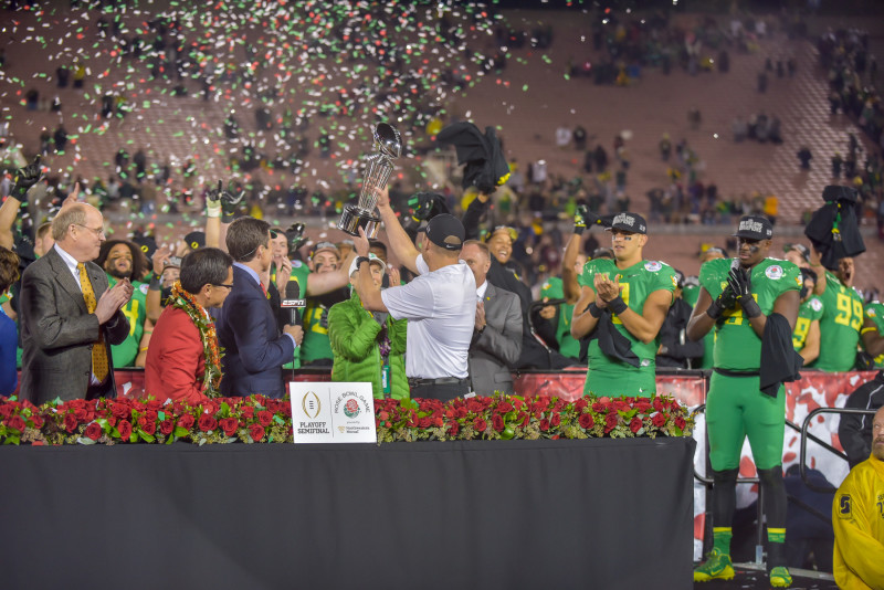 Celebrating a big Rose Bowl Win. Photo: Craig Strobeck