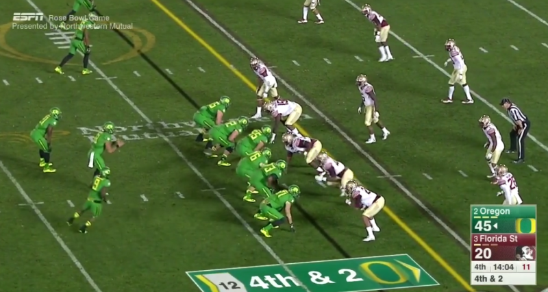 Once again the formation goes from a one-back set to a two-back set.