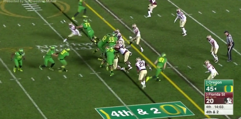 Once the ball is snapped, the TE releases down the field, and Mariota now only has to beat the corner in the flat.
