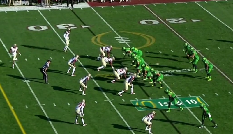 As the Z receiver moves into the backfield, the secondary begins to re-adjust to the new offensive alignment.