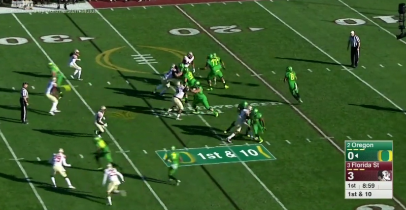 The TE gets a free release off the line and finds a wide open area in the deep right side of the field.