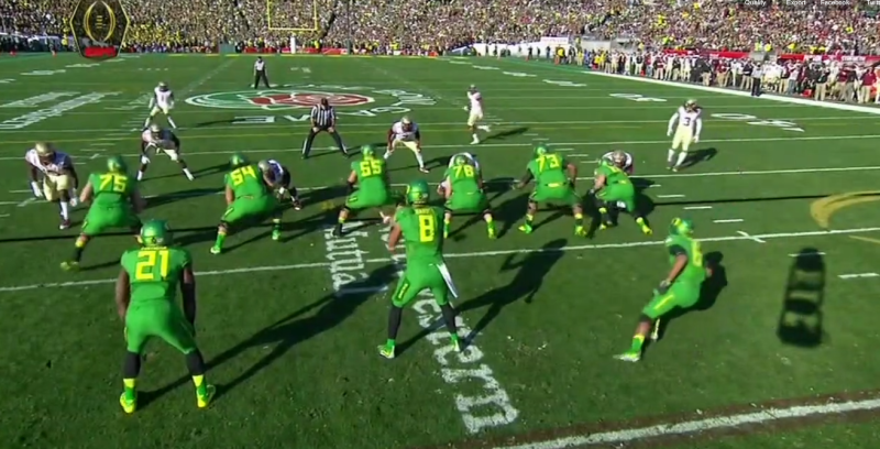 The alignment of the secondary changes as the offense brings the Z receiver into the backfield