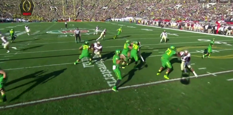 The TE finds nothing but green grass to the deep right thanks to the re-alignment of the secondary.