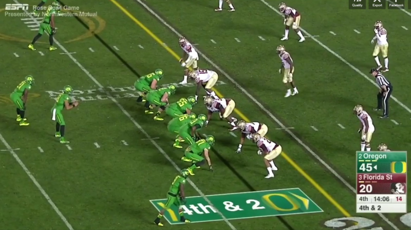 In this example, the offense starts out in a similar formation to the last play we examined.