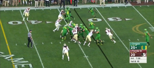 Stevens makes it to the second level, but the Seminoles do a good job anticipating the run to the right. Still, Tyner makes a nice four-yard pickup.