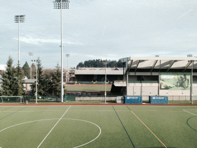 A view from the cardio floor overlooking Hayward Field