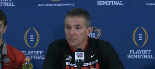 Urban Meyer post game reaction after hearing Oregon beat Florida State by nearly 40 points.