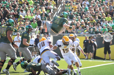 Bennett leaps for a touchdown against Tennessee Tech.