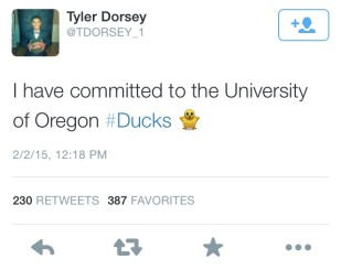 Tyler Dorsey's tweet announcement of his recent commitment to the Oregon Ducks men's basketball team.