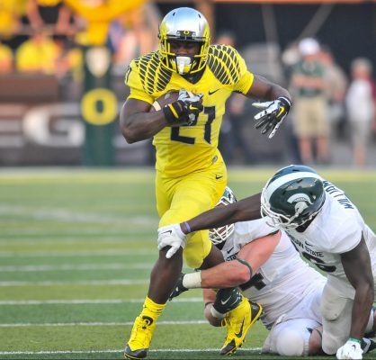 Royce Freeman was an impact player last year against MSU. He will have to lead the way if the Ducks are going to win on the road this season.