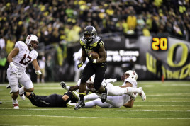 Royce Freeman, a human wrecking ball.