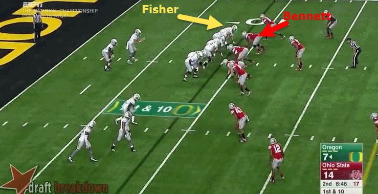 Bennett is in the play-side gap. Fisher is covered.