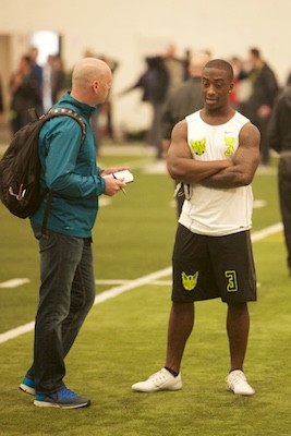 Dior Mathis after his Pro Day performance.