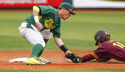 Mitchell Tolman tags out an ASU base runner at second base