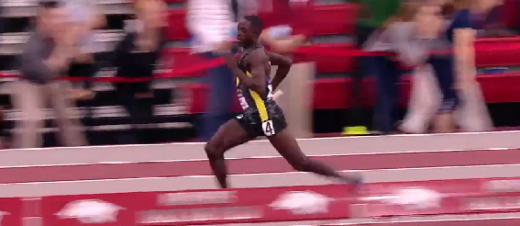 Cheserek making his move to win the DMR