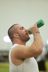 Grasu cooling off after doing a series of drills for NFL scouts.