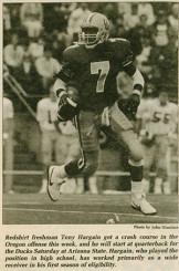 Tony Hargain, freshman quarterback?
