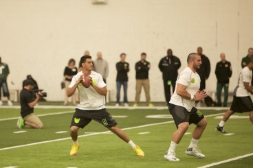 One way of Mariota attempting to increase his stock heading into the draft, is by retouching his skills of taking snaps under center. Scouts want to see his footwork, his arm strength, and how he deals with a NFL-style pressure.