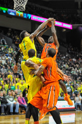 Jordan Bell rejects an Oregon State player adding to his record breaking block total