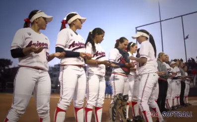 "Arizona softball players discuss strategy for chanting ""Three balls."""
