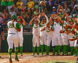 Oregon celebrates one of their 77 home runs this season.