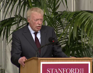 Phil Knight delivers commencement address to Stanford School of Business.