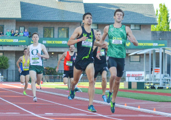 Matt Centrowitz and Andrew Wheating crossing the line.