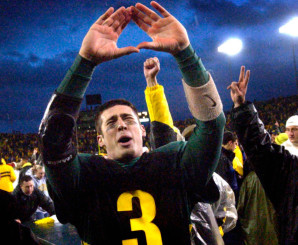 Joey Harrington throwing up the O