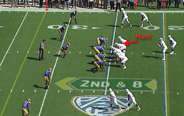 Note where No. 78 Cameron Hunt lines up at right guard.