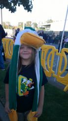 Never without her Duck gear..
