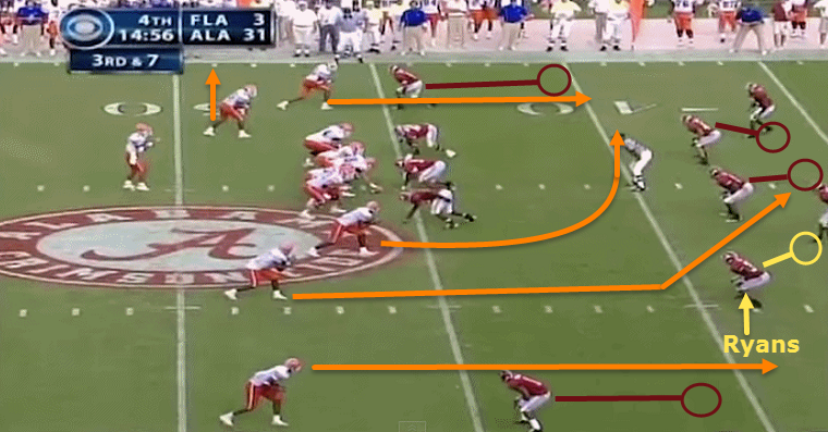 Ryans lined up against a slot receiver.