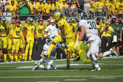 Byron Marshall and the Ducks will look to beat a top-10 ranked Michigan State team for the second time in two years