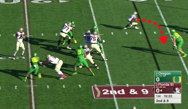 The Oregon Nose Tackle spoils the route...