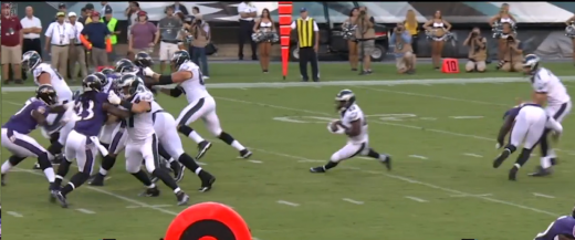 Sam Bradford takes a hit in the knees from Terrell Suggs during week 2 of the NFL Preseason