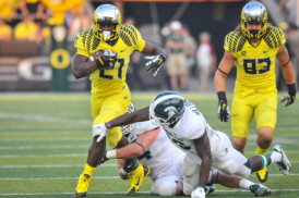 Behind the protection of the offensive line, Royce Freeman looks to have another great year.