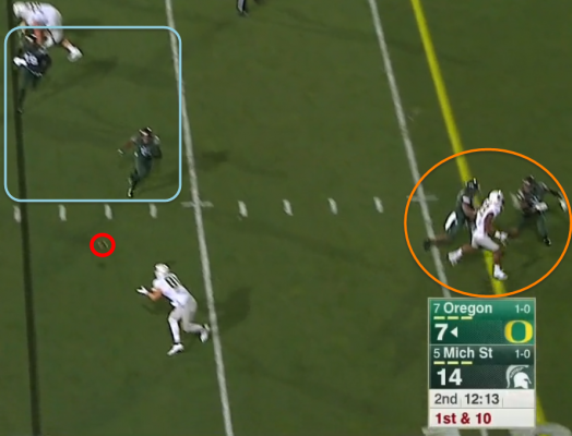 Dual Flare 2015 UO v MSU #4 - Delivery, DBs drawn away