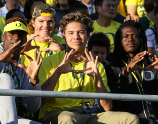 LaMar Winston (left), Brady Breeze (back left), Cam McCormick (middle) and Terry Wilson (right) at the Eastern Washington game.