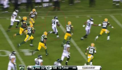 K Barners 50-yd screen pass